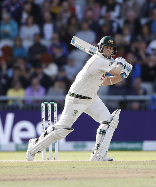 Australia's Steve Smith bats during day four of the fourth Ashes Test cricket match between England and Australia at Old Trafford in Manchester, England, Saturday, Sept. 7, 2019. (AP Photo/Rui Vieira)