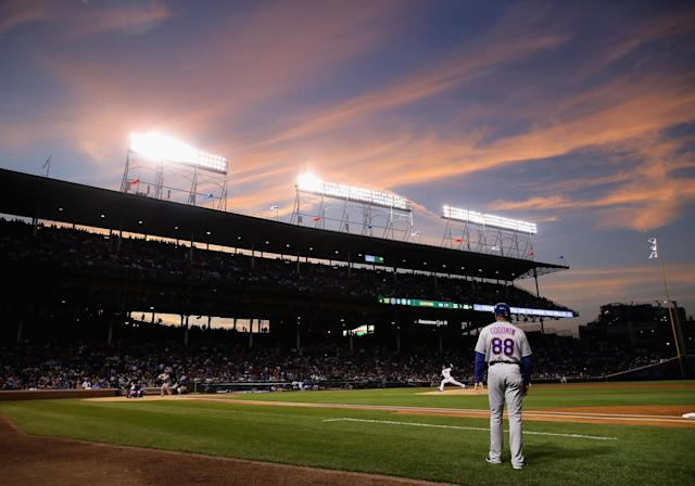 Imagine Otani pitching in Wrigley Field. (Photo by Jonathan Daniel/Getty Images)