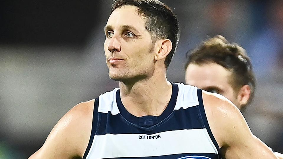 Geelong defender Harry Taylor is pictured after the 2020 AFL Grand Final.