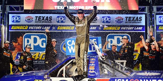 "FORT WORTH, Texas — <a class=""link rapid-noclick-resp"" href=""/nascar/sprint/drivers/378/"" data-ylk=""slk:Johnny Sauter"">Johnny Sauter</a> continued his uncanny mastery of Texas Motor Speedway Friday night, holding off <a class=""link rapid-noclick-resp"" href=""/nascar/sprint/drivers/3870/"" data-ylk=""slk:Stewart Friesen"">Stewart Friesen</a> on a three-lap shootout to win the 22nd annual PPG 400 NASCAR Camping World Truck Series race. The series points leader, Sauter posted his fifth career win on the 1.5-mile oval and fourth in eight …"