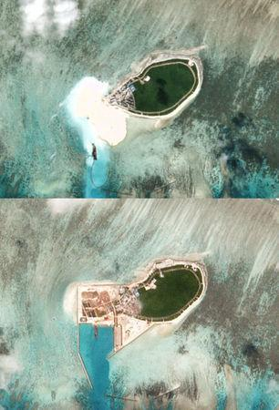 Combination of satellite photos show Chinese-controlled Tree Island, part of the Paracel Islands group in the South China Sea, on November 11, 2015 (top) and on October 12, 2017. Planet Labs/Handout via REUTERS