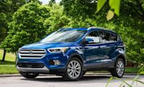 """<p>Now we jump back up closer to the top of our $10,000 maximum. Ford has had great success with the <a href=""""https://www.caranddriver.com/ford/escape"""" rel=""""nofollow noopener"""" target=""""_blank"""" data-ylk=""""slk:Escape"""" class=""""link rapid-noclick-resp"""">Escape</a>, and the third generation of the compact crossover was extremely popular. Sold from 2013 to 2019, the Escape's combination of sporty good looks, five-passenger comfort, solid fuel economy, and athletic road manners appealed to so many buyers that it was consistently one of the country's most popular SUVs. According to reliability and safety data, Escapes sold in 2015, 2018, and 2019 are your best bets. As is the case with most small SUVs, front-wheel drive was standard and all-wheel drive was offered. These all pack four-cylinders under their hoods along with automatic transmissions. The standard engine was a 2.5-liter, but Ford also offered two turbocharged EcoBoost engines with more power. Prices start around $9300.</p>"""