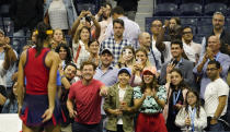 Tennis fans applaud Emma Raducanu, of Great Britain, after she defeated Maria Sakkari, of Greece, during the semifinals of the US Open tennis championships, Thursday, Sept. 9, 2021, in New York. (AP Photo/Elise Amendola)