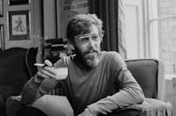 <p>Peter O'Toole sits for an interview at his home for the BBC television series <em>Film Night</em> on June 15, 1972.</p>