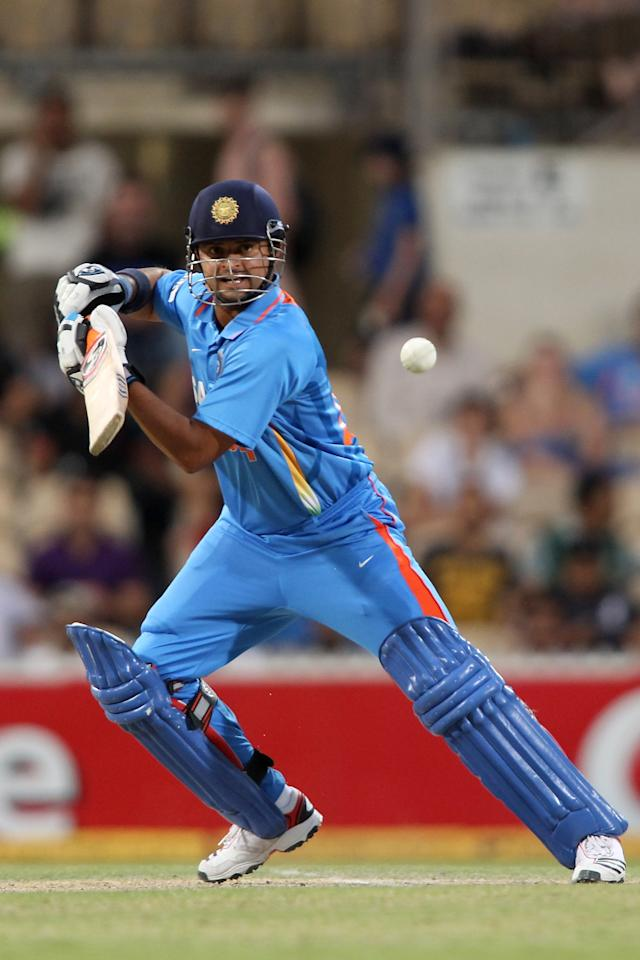 ADELAIDE, AUSTRALIA - FEBRUARY 14: Suresh Raina of India bats during the One Day International match between India and Sri Lanka at Adelaide Oval on February 14, 2012 in Adelaide, Australia.  (Photo by Morne de Klerk/Getty Images)
