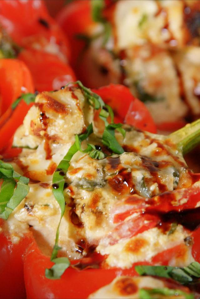 """<p>The only way to stuff yourself.</p><p>Get the recipe from <a rel=""""nofollow"""" href=""""http://www.delish.com/cooking/recipe-ideas/recipes/a52618/caprese-chicken-stuffed-peppers-recipe/"""">Delish</a>.</p>"""
