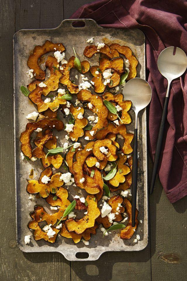 """<p>This variety of winter squash seems to be seriously underrated. Give it a much-deserved moment in the spotlight by slicing, roasting, and sprinkling with crumbled feta and sage. </p><p><em><a href=""""https://www.goodhousekeeping.com/food-recipes/a41106/spicy-acorn-squash-with-feta-recipe/"""" rel=""""nofollow noopener"""" target=""""_blank"""" data-ylk=""""slk:Get the recipe for Spicy Acorn Squash with Feta »"""" class=""""link rapid-noclick-resp"""">Get the recipe for Spicy Acorn Squash with Feta » </a></em> </p>"""