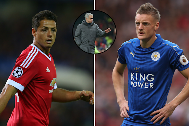 Transfer targets: Chicharito and Jamie Vardy are reportedly being eyed by Manchester United