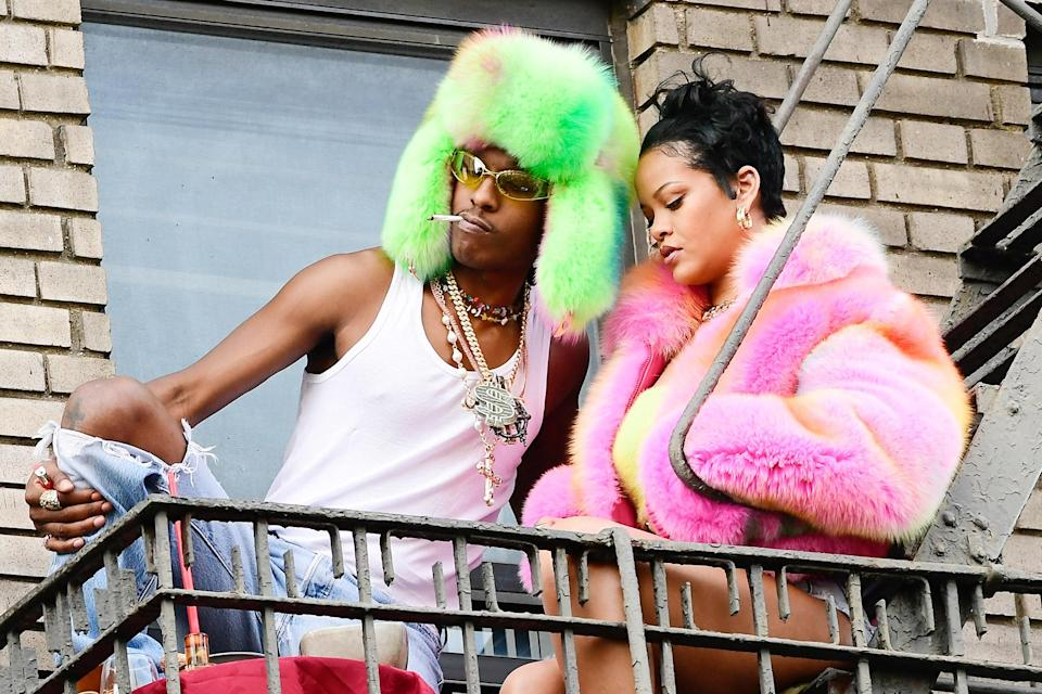 <p>In July 2021, the dynamic duo sported complementary looks featuring luscious furs in the form of a trapper hat for Rocky and a cropped jacket for RiRi.</p>