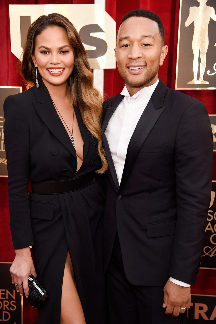 Chrissy Teigen and John Legend were all smiles at the Screen Actors Guild Awards. (Photo: Getty Images for TNT)