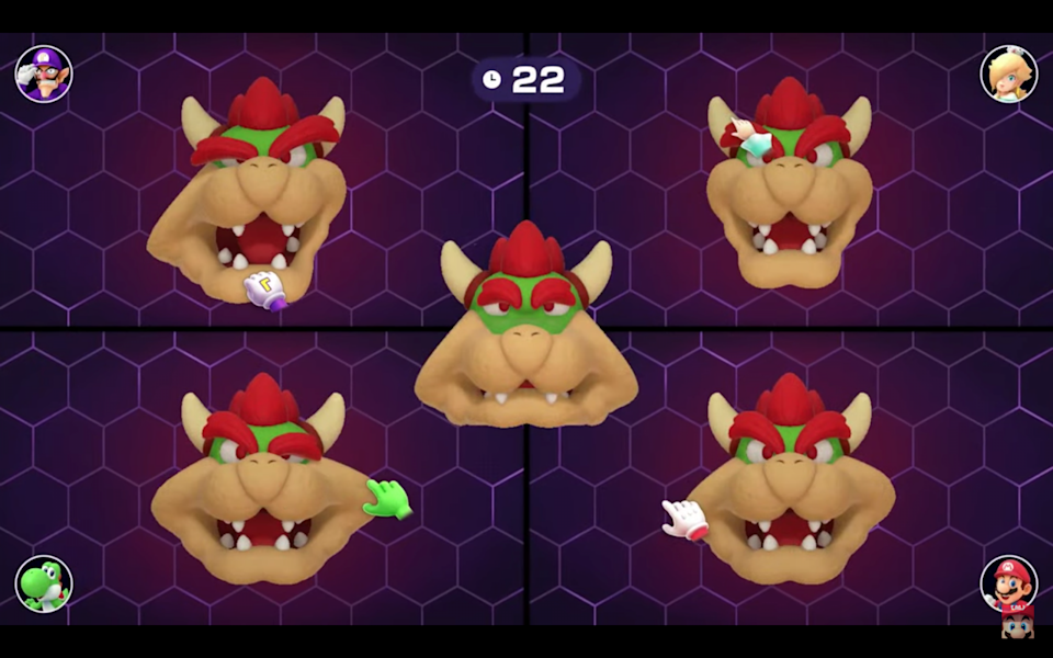 Bowser's face is stretched out in a Mario Party minigame.