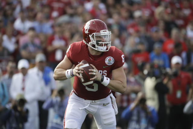 Mayfield never lost a single road game during his three years starting at Oklahoma. (AP Photo/Jae C. Hong)