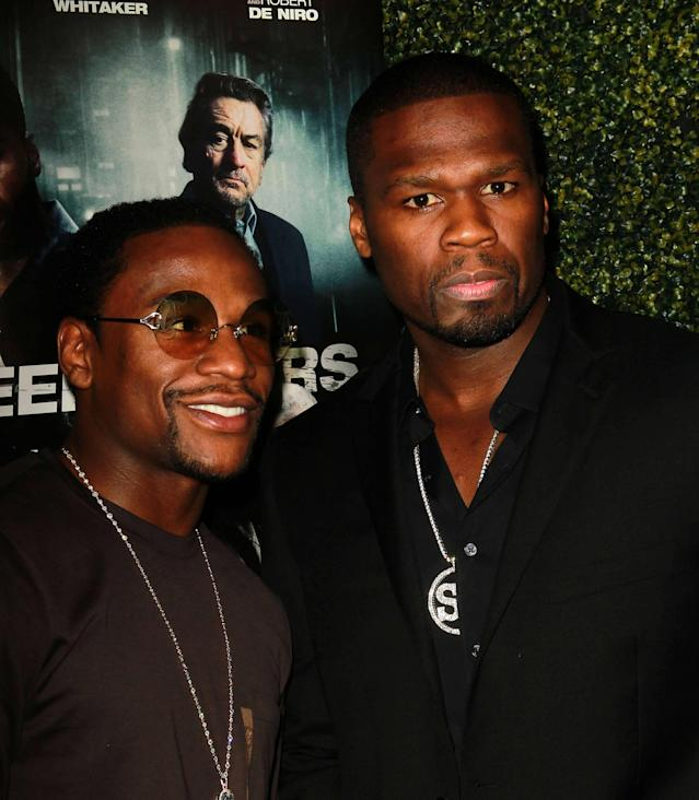 "Floyd Mayweather Jr. and 50 Cent aka Curtis Jackson attends the Lionsgate Home Entertainment and Grindstone VIP screening of ""Freelancers"" at the Mann Chinese Theater Hollywood, California - 08.08.12 Mandatory Credit: FayesVision/WENN.com"