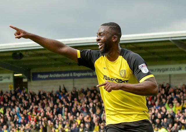 "Soccer Football - Championship - Burton Albion vs Bolton Wanderers - Pirelli Stadium, Burton, Britain - April 28, 2018 Burton Albion's Hope Akpan celebrates scoring their first goal Action Images/Paul Burrows EDITORIAL USE ONLY. No use with unauthorized audio, video, data, fixture lists, club/league logos or ""live"" services. Online in-match use limited to 75 images, no video emulation. No use in betting, games or single club/league/player publications. Please contact your account representative for further details."