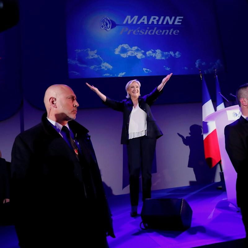 Marine Le Pen claiming victory on Sunday night - Credit: EPA