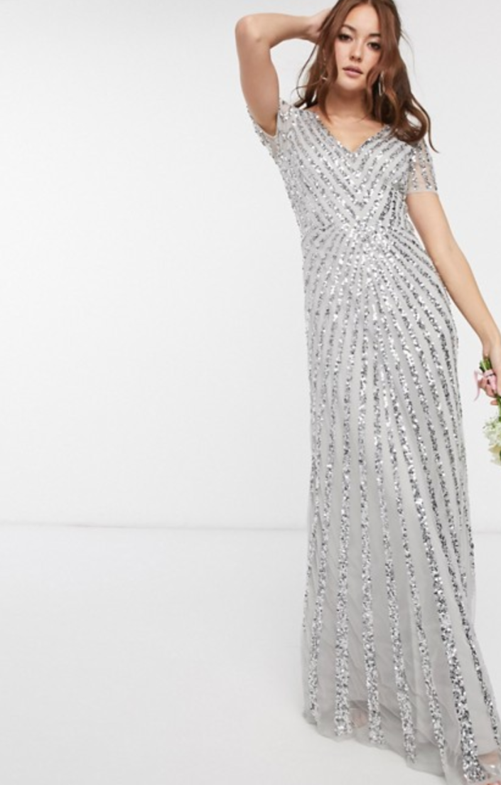 Maya Bridesmaid Plunge Front All over-embellished Maxi Dress in Silver
