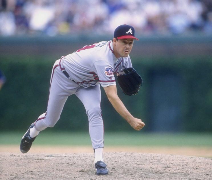 Greg Maddux throwing one of his 76 pitches in a complete game on July 22, 1997. (Getty Images)