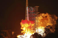 FILE - In this Dec. 8, 2018, file photo released by Xinhua News Agency, the Chang'e 4 lunar probe launches from the the Xichang Satellite Launch Center in southwest China's Sichuan Province. China's landing of its third probe on the moon is part of an increasingly ambitious space program that has a robot rover en route to Mars, is developing a reusable space plane and plans to put humans back on the lunar surface. (Jiang Hongjing/Xinhua via AP, File)