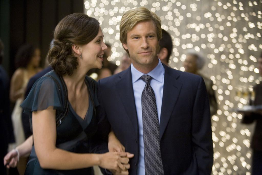 "<a href=""http://movies.yahoo.com/movie/contributor/1800360995"">Maggie Gyllenhaal</a> as Rachel Dawes and <a href=""http://movies.yahoo.com/movie/contributor/1800022565"">Aaron Eckhart</a> as Harvey Dent in Warner Bros. Pictures' <a href=""http://movies.yahoo.com/movie/1809271891/info"">The Dark Knight</a> - 2008"
