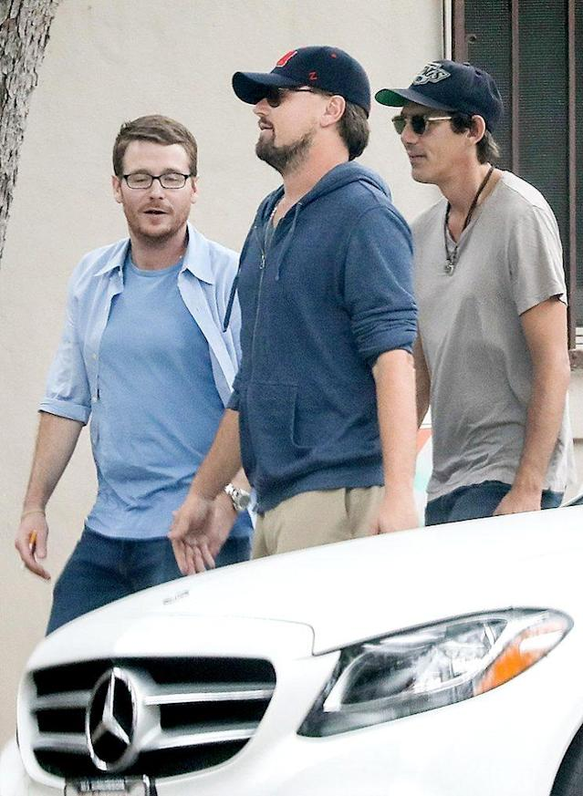 Leonardo DiCaprio, Kevin Connolly, left, and Lukas Haas attend Ruby Maguire's play. (Photo: SPOT/BACKGRID)