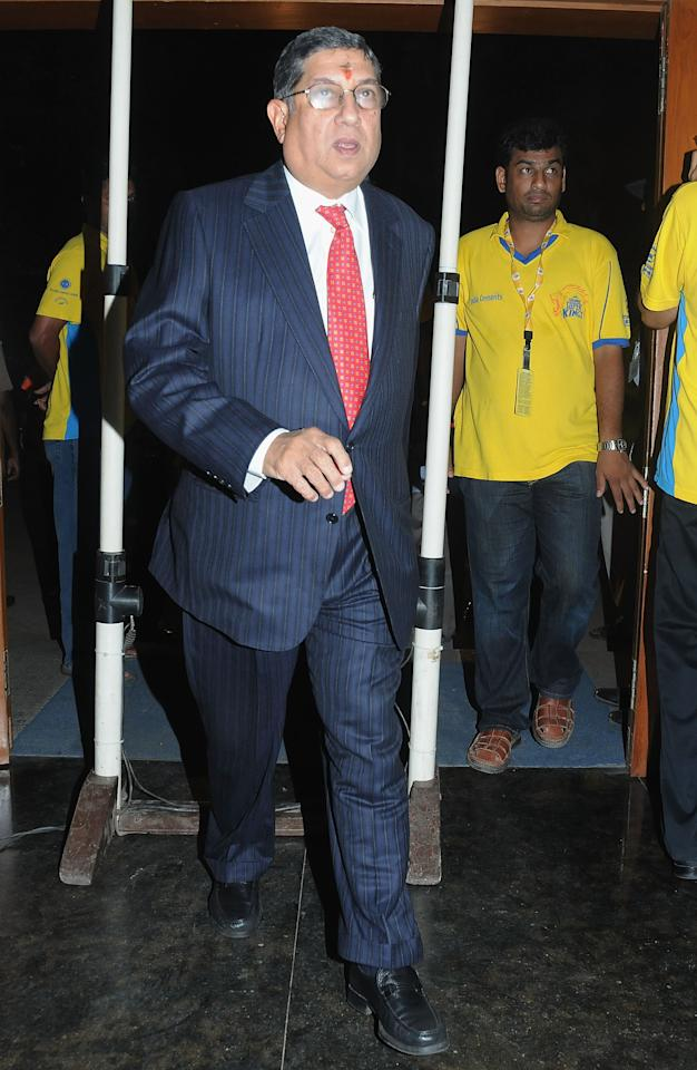CHENNAI, INDIA - APRIL 06:   Chennai Super Kings's owner N.Srinivasan during the 2010 DLF Indian Premier League T20 group stage match between Chennai Super Kings and Mumbai Indians played at MA Chidambaram Stadium on April 6, 2010 in Chennai, India.  (Photo by Yogen Shah-IPL 2010/IPL via Getty Images)