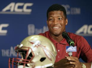 Jameis Winston was as poised as ever while speaking to reporters at the ACC's media event. (AP)