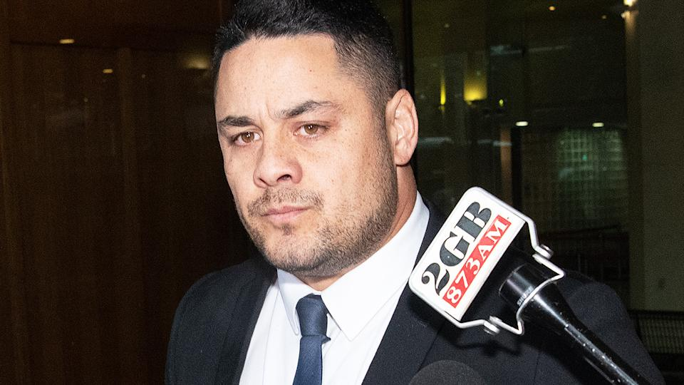 Jarryd Hayne, pictured here outside Downing Centre District Court after being found guilty of sexual assault.