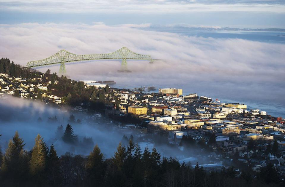 """<p><a href=""""https://go.redirectingat.com?id=74968X1596630&url=https%3A%2F%2Fwww.tripadvisor.com%2FTourism-g60806-Astoria_Oregon-Vacations.html&sref=https%3A%2F%2Fwww.esquire.com%2Flifestyle%2Fg35036575%2Fsmall-american-town-destinations%2F"""" rel=""""nofollow noopener"""" target=""""_blank"""" data-ylk=""""slk:Astoria is actually the oldest settlement"""" class=""""link rapid-noclick-resp"""">Astoria is actually the oldest settlement</a> west of the Rocky Mountains, so if you love history, you'll love exploring this interesting town and its many museums, like the Columbia River Maritime Museum. </p>"""