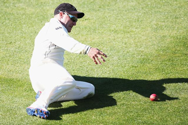DUNEDIN, NEW ZEALAND - DECEMBER 04: Brendon McCullum of New Zealand fields during day two of the first test match between New Zealand and the West Indies at University Oval on December 4, 2013 in Dunedin, New Zealand. (Photo by Hannah Johnston/Getty Images)