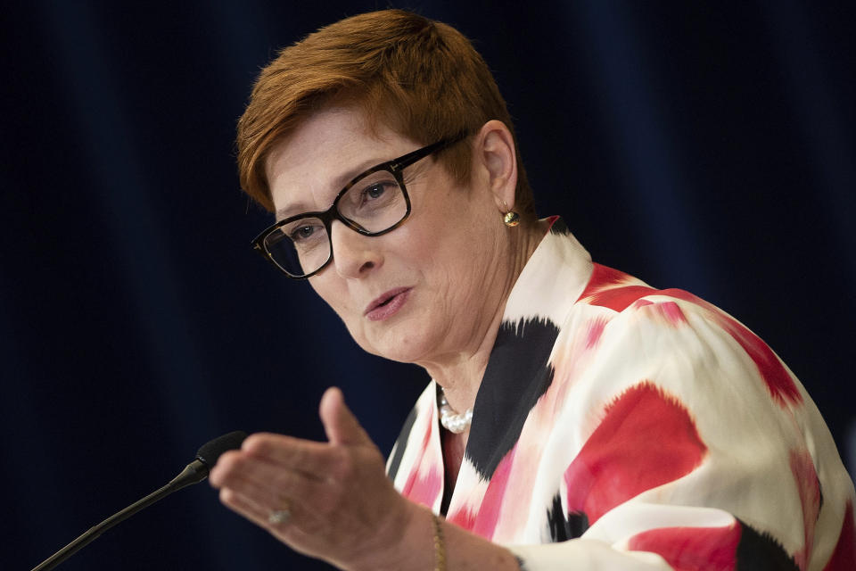"FILE - In this July 28, 2020, file photo, Australia's Foreign Minister Marise Payne speaks at a news conference at the State Department, in Washington. Australia has suspended its defense cooperation with Myanmar and is redirecting humanitarian aid because of the military takeover of the government and ongoing detention of an Australian citizen. Payne said on Monday, March 8, 2021 that Australian diplomats only had access to economic policy adviser Sean Turnell twice since he was detained in early February. She described the access as ""very limited consular support."" (Brendan Smialowski/Pool Photo via AP, File)"
