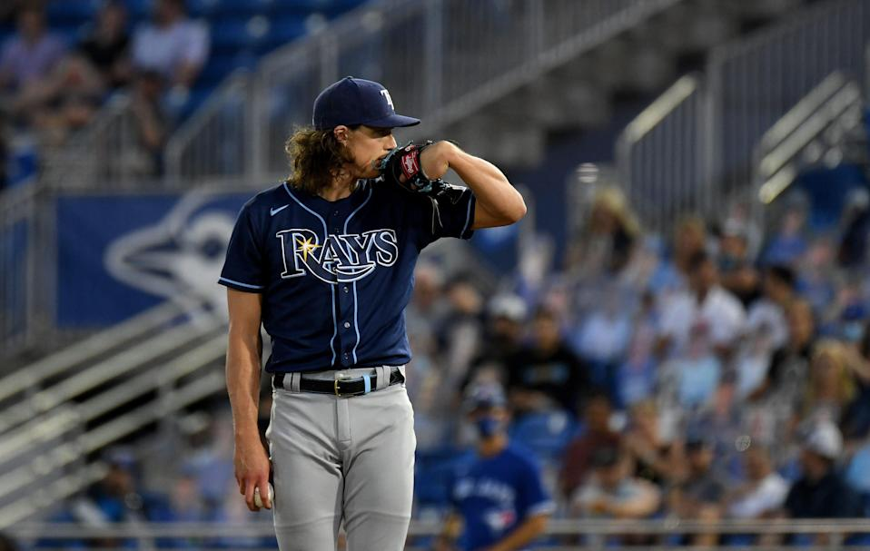 Rays pitcher Tyler Glasnow ranks second in the majors in strikeouts through 14 starts.