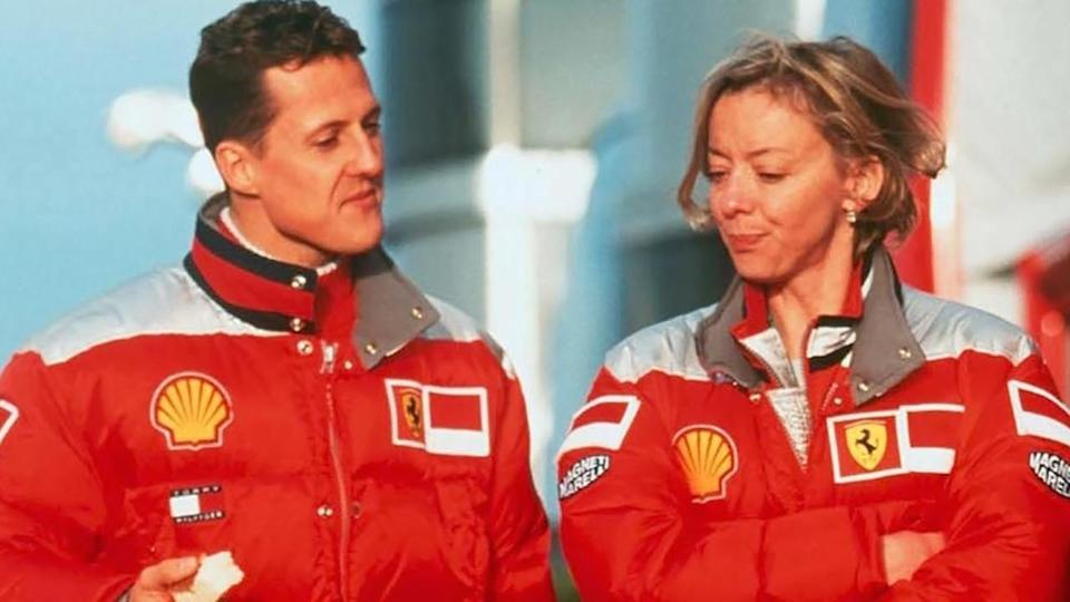 Michael Schumacher and Sabine Kehm. (Photo by Andreas Rentz/Bongarts/Getty Images)