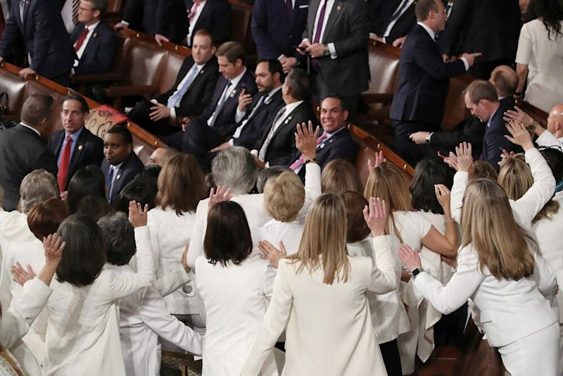 Female lawmakers at President Donald Trump's State of the Union on Tuesday | Drew Angerer/Getty Images