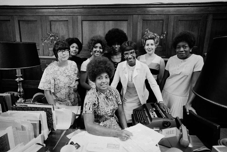 <p>Thanks to an increase in higher education for women, society began seeing women in positions of power and leadership. In 1968, Shirley Chisholm (center), became the first Black woman elected to the United States Congress. </p>