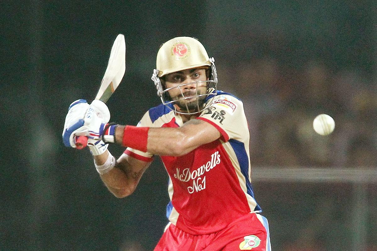 Royal Challengers Bangalore captain Virat Kohli attempts to pull a delivery during match 57 of the Pepsi Indian Premier League between Delhi Daredevils and the Royal Challengers Bangalore held at the Feroz Shah Kotla Stadium, Delhi on the 10th May 2013. (BCCI)