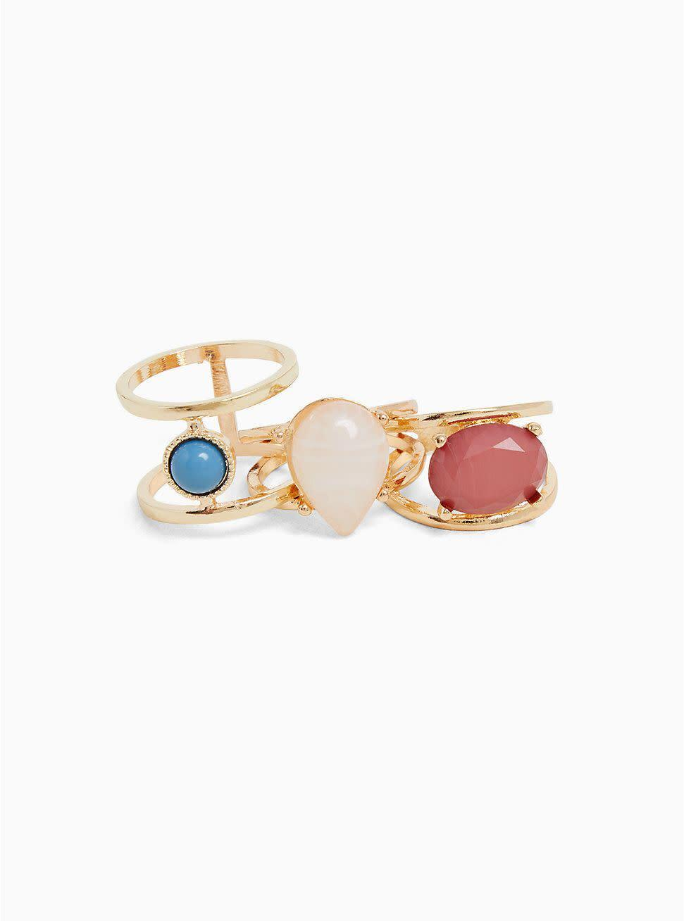 "Get the <a href=""https://www.torrid.com/product/multi-stone-ring---set-of-3/11921523.html?cgid=ShoesAccessories_Jewelry_Rings#start=17"" rel=""nofollow noopener"" target=""_blank"" data-ylk=""slk:Torrid multi stone ring 3-pack, available in sizes 9-12, for $14.90"" class=""link rapid-noclick-resp"">Torrid multi stone ring 3-pack, available in sizes 9-12, for $14.90</a>"