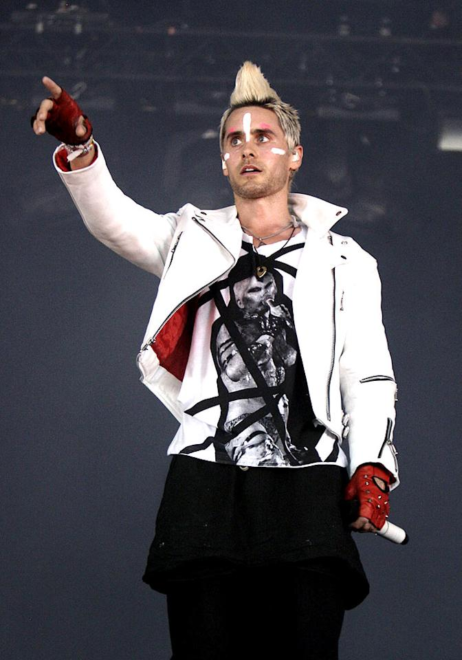 "We're not really sure what 30 Seconds To Mars frontman Jared Leto was thinking when he donned a Mohawk and white face paint for his performance at the Lowlands Festival 2010 in Biddinghuizen, Netherlands. Do you think his look is hot ... or not? <a href=""http://www.wireimage.com"" target=""new"">WireImage.com</a> - August 22, 2010"