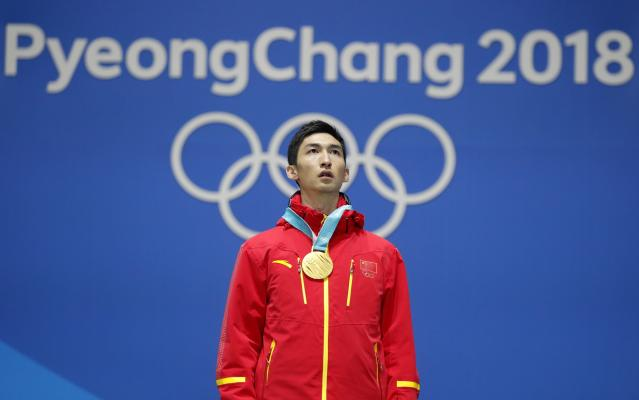 Medals Ceremony - Short Track Speed Skating Events - Pyeongchang 2018 Winter Olympics - Men's 500m - Medals Plaza - Pyeongchang, South Korea - February 23, 2018 - Gold medalist Wu Dajing of China on the podium.