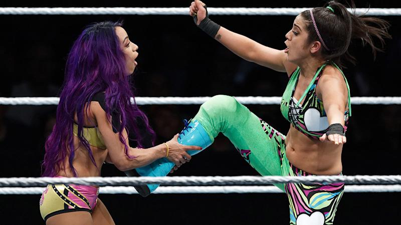 Sasha Banks, pictured here in action against Bayley in 2018.