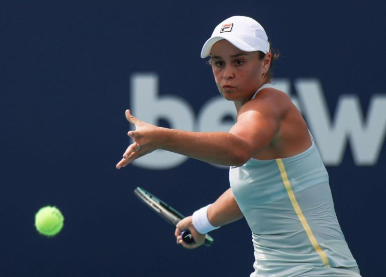 World number one Ashleigh Barty of Australia on the way to a third-round victory over Jelena Ostapenko of Latvia at the Miami Open WTA and ATP hardcourt tournament