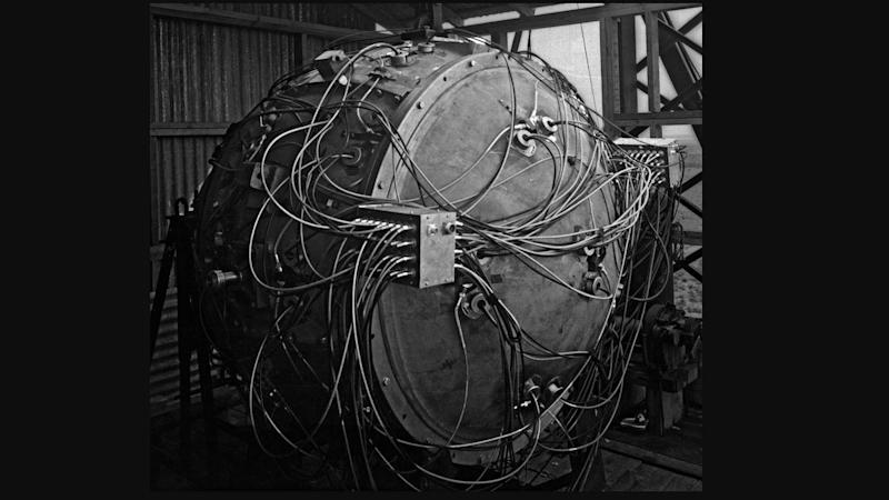 The Trinity test weapon. Image credit: Los Alamos National Laboratory