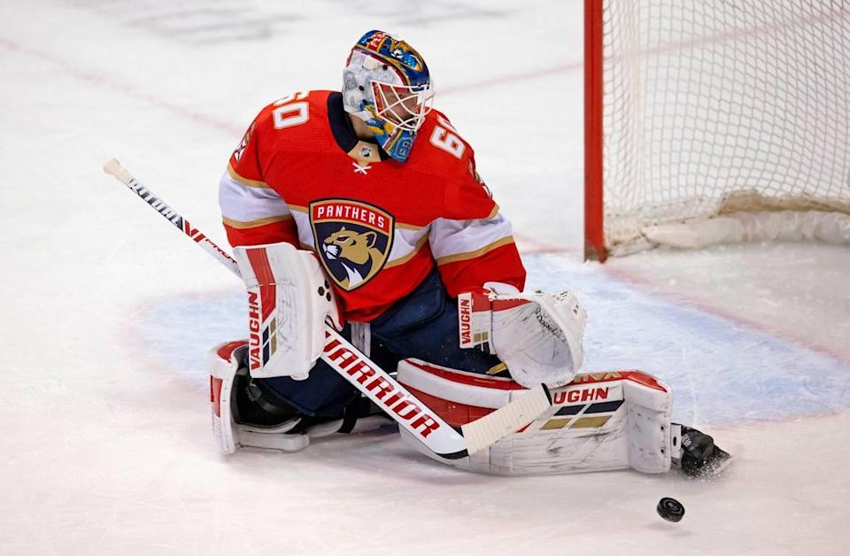 Florida Panthers goalie Chris Driedger (60) blocks a shot during the first period of the Florida Panthers NHL home opener game against the Chicago Blackhawks t the BB&T Center on Sunday, January 17, 2021 in Sunrise, Fl.