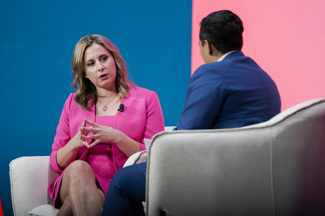 Katie Hill, a former Representative from California, speaks during the 2020 Makers Conference in Los Angeles, California, U.S., on Tuesday, Feb. 11, 2020. The event gathers industry leading females for roundtable discussions to help inspire the women of tomorrow. Photographer: Kyle Grillot/Bloomberg