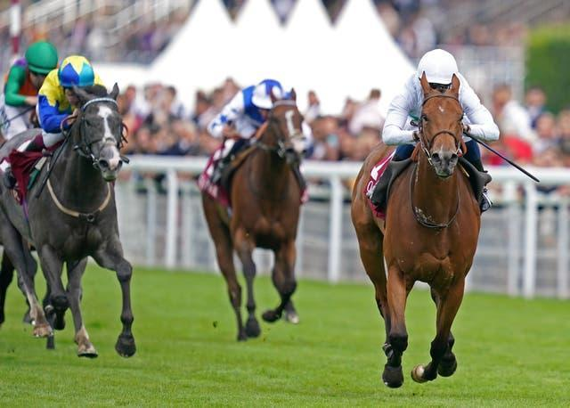 Suesa, ridden by jockey William Buick, powered to victory in the King George Qatar Stakes at Goodwood
