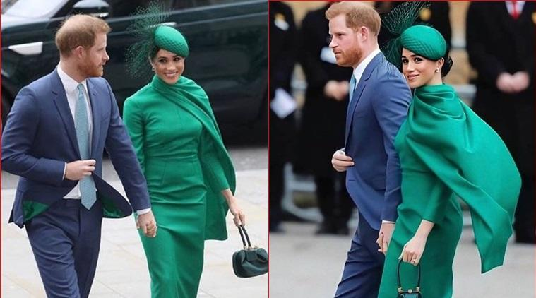 Meghan markle emerald dress, meghan markle recent photos, repeats engagement dress, Meghan repeats green dress, meghan engagement dress, lifestyle, duchess of Sussex, indian express, lifestyle, fashion