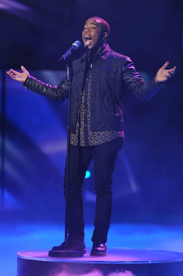 "Burnell Taylor performs Westlife's ""Flying Without Wings"" on the Wednesday, March 13 episode of ""American Idol."""