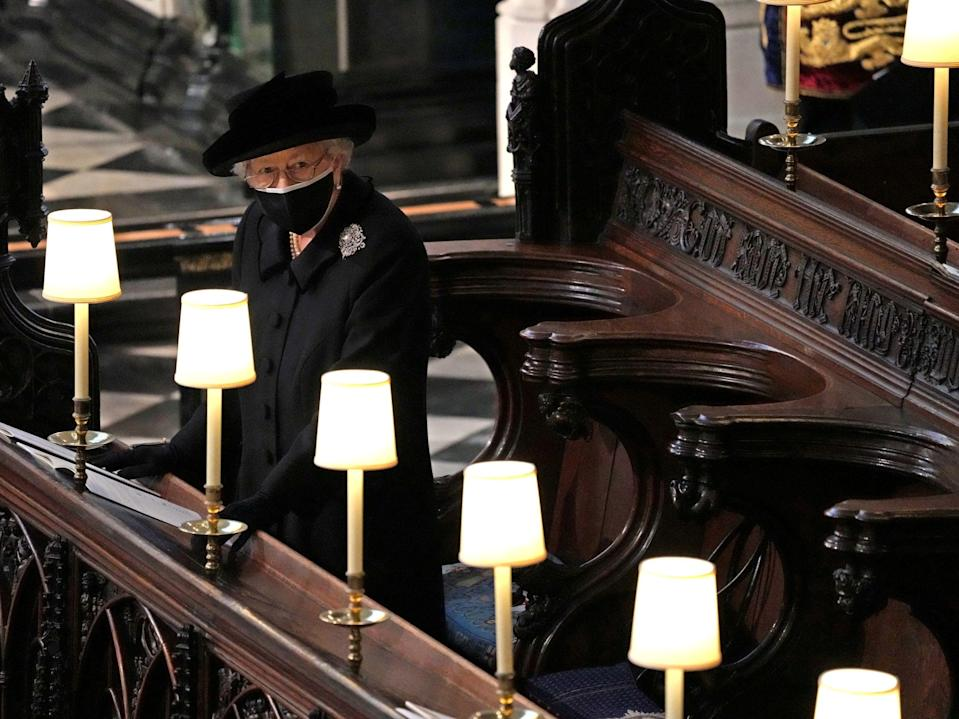 <p>The Queen in St George's Chapel, Windsor</p> (Reuters)