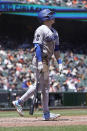 Los Angeles Dodgers' Gavin Lux watches his grand slam home run against the San Francisco Giants during the third inning of a baseball game in San Francisco, Sunday, May 23, 2021. (AP Photo/Jeff Chiu)