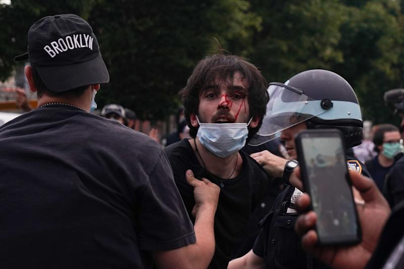 New York Police Department officers arrest protesters on May 30, 2020.