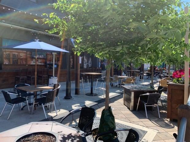 The patio at the Bull & Barrel in Windsor is shown in a file photo. The group that owns the restaurants and other establishments is calling for changes to public health rules. (Elvis Nouemsi Njiké/Radio-Canada - image credit)
